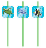 Ocean Party Plastic Straws w/ Attachment (6)