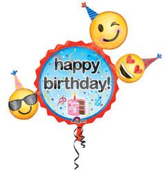 "HB Emoji Birthday Wish Large Shape 36"""