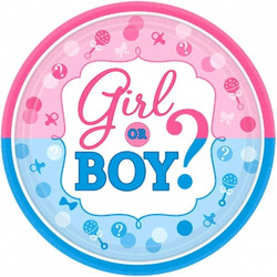 "Girl or Boy? Round Plates, 7"" (8 pack)"