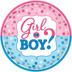 "Girl or Boy? Round Plates, 10 1/2"" (8 pack)"