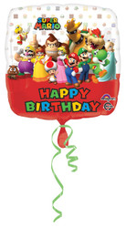"18"" Square Super Mario Brothers Happy Birthday Foil Balloon"