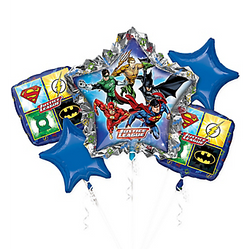 Prepare the watchtower for a celebration with a foil Justice League Balloon Bouquet. A giant star balloon is the focal point and features your favorite superheroes. Two complementary square balloons feature the logos of Superman, The Flash, Green Lantern, and Batman. This superhero balloon bouquet is completed with two blue star balloons, perfect for your Justice League party. Justice League Balloon Bouquet includes:  Foil Giant Star Justice League Balloon, 34in wide x 32in tall 2 foil Justice League Balloons, 17in x 17in 2 foil blue star balloons, 19in diameter