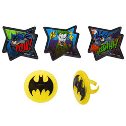 "Kick the party into action with these Batman Cupcake Rings! These cool Batman cupcake toppers measure 1.75"" and come in five different designs. Use them as decorative toppers and as favors for after the party. (12 per pack)"