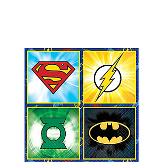 Justice League Beverage Napkins are here to save your party from a mess. Logos for Superman, The Flash, Green Lantern, and Batman are printed on these superhero napkins. Justice League Beverage Napkins product details:  16 per package 5in x 5in when folded 2-ply paper
