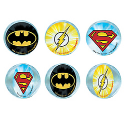 The Justice League has assembled on these cool superhero bounce balls. Each ball features the logo of Batman, The Flash, or Superman. Drop a Justice League Bounce Ball in each of your superhero goodie bags or hand them out as prizes. Justice League Bounce Balls product details:  6 per package 2 each of 3 designs 1 1/2in diameter Rubber