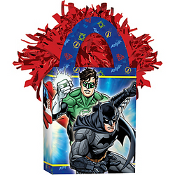 Keep your superhero balloons from flying off to fight crime with a Justice League Balloon Weight. The double-sided design features the Justice League team flying into action. This weight is shaped like a tote bag with red foil fringe popping out of the top — a festive addition to your Justice League party decorations. Justice League Balloon Weight product details:  3in wide x 5 1/2in tall x 1 1/2in deep 5.7oz net weight Cardstock and foil