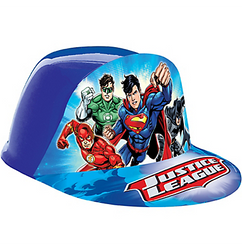 "Your little one is ready to save the day in this Justice League Plastic Hat. A cardstock cutout of your favorite superheroes is featured on the front of this blue hat with ""Justice League"" printed on the bill. Add some POW to your superhero's birthday outfit with a lightweight plastic Justice League hat. Child Justice League Plastic Hat product details:  7in wide x 10in long x 4in tall Cardstock and plastic One size fits most children Not for children under 3 years."