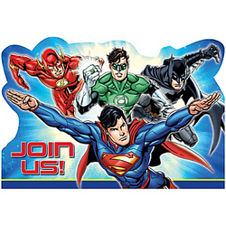 Invite all of his crime fighting friends to your little one's birthday party. These Justice League Invitations feature everyone's favorite superheroes: Superman, The Flash, Batman, and Green Lantern. Flip the postcard-style invitations over and write all of the birthday party details! Package contains invitations and red envelopes for eight guests. Justice League Invitations include:  8 postcard invitations, 6 1/4in wide x 4 1/4in tall 8 envelopes 8 sticker seals, 1 1/2in diameter 8 save-the-date stickers, 1 1/2in x 1 1/2in
