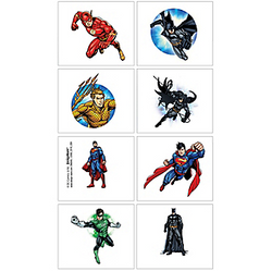 Justice League Tattoo Favors 16 pack