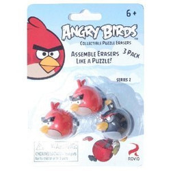 Angry Birds Puzzle Erasers 3pk - Red/Black