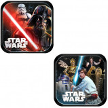 Chocolate or vanilla cake? Light side or Dark Side? Make the decision with these Star Wars Dessert Plates that come in two styles. One features a print of a Stormtrooper and Darth Vader with his red lightsaber, the other features Luke Skywalker, C-3PO, and R2-D2. Serve up some sweet treats at your little one's Star Wars party on these square paper plates! Star Wars Dessert Plates product details:  8 per package 4 each of 2 designs 7in x 7in Paper Made in the USA