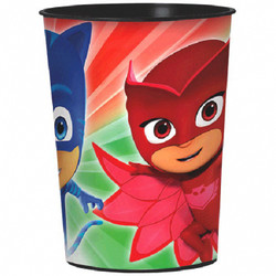 The PJ Masks Favor Cup has super powers too! It can be used to serve cool drinks or to hold PJ Masks party favors. This reusable plastic cup features a wraparound print of the PJ Masks crew of Catboy, Owlette, and Gekko ready for action. A plastic PJ Masks Favor Cup is a fun alternative to a traditional goodie bag. PJ Masks Favor Cup product details:  16oz capacity 3 1/2in diameter x 4 1/2in tall BPA-free plastic Reusable Top-rack dishwasher-safe Not suitable for boiling hot liquids or microwave use Made in the USA