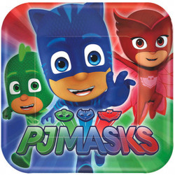 After a night of fighting crime, it's time to feast on pizza and party food. PJ Masks Lunch Plates feature the PJ Masks crew of Catboy, Owlette, and Gekko ready for action. Use these square paper plates to set the table at your PJ Masks birthday party or pajama party. PJ Masks Lunch Plates product details:  8 per package 9in x 9in Paper Made in the USA