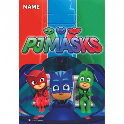Your little heroes will be using their super powers to check out what goodies are hiding inside PJ Masks Favor Bags. Featuring Catboy, Owlette, and Gekko riding in the Cat-Car, these PJ Masks plastic loot bags will be an exciting parting gift! Keep bags of PJ Masks party favors organized by writing each guest's name in the top section. Fill up favor bags with fun PJ Masks toys and favors at your child's PJ Masks birthday party. PJ Masks Favor Bags product details:  8 per package 6 1/2in wide x 9 1/2in tall Plastic