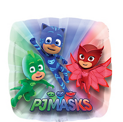 Get the party flying high like Owlette with a Giant PJ Masks Balloon! This square foil balloon features an action shot of Catboy, Owlette, and Gekko on a blue, red, and green background. Mix and match it with latex balloons to create a unique balloon display at your child's PJ Masks birthday party. Use a Giant PJ Masks Balloon to top off your PJ Masks birthday party decorations. Giant PJ Masks Balloon product details:  28in x 28in Foil Self-sealing Reusable