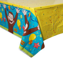 "Curious George Rectangular Plastic Table Cover, 54""x84"""