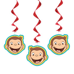 "Add a little character to your child's birthday party with these cute Hanging Curious George Decorations. These 26-inch hanging swirls each have a Curious George-shaped decoration on the end. You can use this trio of Curious George decorations for any kids Curious George theme party. It couldn't be easier to hang all three Curious George cutouts in a doorway or from the ceiling above a party table. We also have a large selection of other Curious George party supplies and decorations to complete the party theme.   Details:  • 3 Hanging Curious George Decorations  • Hanging Swirls measure 26"" long  • Hang in a doorway, in a window, or above a party table  • Cute for a kids Curious George themed birthday party  • Combine with more Curious George party supplies"