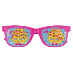 "Make everything look sweeter with these Shopkins Pinhole Novelty Glasses Party Favors. Great for any Shopkins themed party, these stylish pink shades come with Kooky Cookie decals on each lens so you and your guests can be fun and fashionable. Slip these Shopkins party supplies into your goodie bags for guests to take home, or pass them out for everyone to wear when they arrive. They even make cute game prizes for your guests to win! While these glasses make fun party accessories to complete your Shopkins outfit, they do NOT block UV Rays. Bring loads of special Shopkins style to your celebration by shopping our other Shopkins party supplies!   Details:  • 4 Shopkins Pinhole Novelty Glasses Party Favors  • Shopkins Glasses measure 4.5"" x 1.5"" and are one-size-fits-most  • Only intended for play and do not provide UV protection  • Ideal for a Shopkins birthday party  • Combine with more Shopkins party supplies"