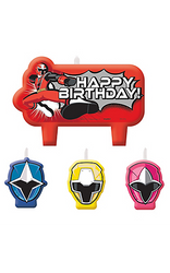 "Your child will be the ninja star of the party when the cake comes out! Especially if it is decorated with these awesome Power Rangers Ninja Steel Birthday Candles! Three of the birthday candles are shaped like the masks of Ninja Steel Blue, Ninja Steel Pink, and Ninja Steel Yellow. The large Power Rangers candle features Ninja Steel Red in action next to a ""Happy Birthday!"" headline. Top off your Power Rangers cake with these action-packed candles and watch your little one excitedly blow them out! Power Rangers Ninja Steel Birthday Candles product details:  4 per package Wax"