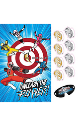 All the little superheroes can join in on the fun with this Power Rangers Ninja Steel Party Game! This party game includes a poster featuring the five main Ninja Steel Rangers in action with a target in the background. Put the included blindfold on your little one and watch them try to stick the Ninja Power Star stickers onto the bullseye. This superhero version of pin the tail on the donkey will be a hit at your child's Power Rangers birthday party! Suitable for 2-8 players. Power Rangers Ninja Steel Party Game includes:  Poster, 24in wide x 37in tall 8 stickers Blindfold Not for children under 3 years.  ⚠ WARNING: Not suitable for children under 3 years. Long cord strangulation hazard. Use with adult supervision