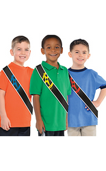 Your little one and their friends can dress up as the Ninja Steel Rangers with these Power Rangers Ninja Steel Sashes! These black foil sashes feature blue, pink, red, and yellow ninja star designs and look like the sashes worn by the Ninja Rangers. The silver trim on the sides of the Power Rangers sashes give them some shine. Perfect for your Power Rangers party or as Halloween costume accessory, these sashes will complete your