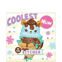 "The tableware at your little one's Num Noms birthday party will look bear-y cute with these Num Noms Lunch Napkins! These large paper napkins feature Van Minty on an ice cream cone with mint leaves and chocolate syrup. The colorful headline ""Coolest Num In The Kitchen"" surrounds the character along with designs of sprinkles and snowflakes. Keep your cool by cleaning up messes with these cute Num Noms napkins! Num Noms Lunch Napkins product details:  16 per package 6 1/2in x 6 1/2in when folded 2-ply paper Made in the USA"