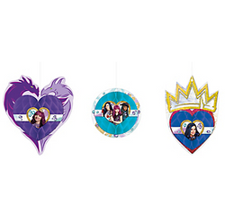 Your little one will feel like an evil princess with Descendants 2 Honeycomb Decorations! These cardstock and tissue paper decorations feature Mal, Evie, and Uma. Simply unfold the honeycomb paper balls and attach the cardstock cutouts to create a 3D effect. Hang up these Disney Descendants decorations from the ceiling with the included strings for quick and easy party decor! Descendants 2 Honeycomb Decorations product details:  3 per package Largest decoration, 6 1/2in wide x 7 1/4in tall Smallest decoration, 4 1/2in diameter Cardstock and tissue paper Include strings for hanging Arrive flat Simple assembly required