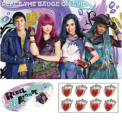 Add a magical twist to Pin-the-Tail-on-the-Donkey with a Descendants 2 Party Game! During this party game, each little one puts on a blindfold and takes a turn trying to pin the sticker in the right place. The party game includes a bright Disney Descendants poster that can also be used as a party decoration at your Descendants party, plus eight heart-shaped stickers. Simply stick the poster onto any flat surface with tape or Sticky Tack (sold separately). Suitable for 2 to 8 players. Descendants 2 Party Game includes:  Poster, 37in wide x 24in tall 8 stickers 1 blindfold ⚠ WARNING: Not suitable for children under 3 years. Long cord strangulation hazard. Use with adult supervision.