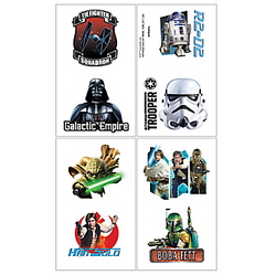 Choose the light or the dark side with Star Wars Tattoos! These temporary tattoos feature characters from the original Star Wars trilogy, including Darth Vader, Yoda, and Han Solo. Drop Star Wars Tattoos into goodie bags as fun Star Wars party favors. Star Wars Tattoos product details:  8 tattoos 8 perforated squares, 2in wide x 1 3/4in tall Sheet, 4in wide x 7in tall Easily applied with a damp cloth Easily removed with baby oil or rubbing alcohol Not for children under 4 years.