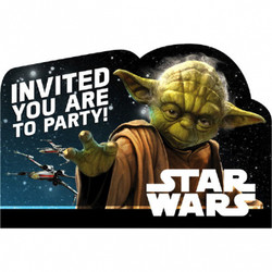 """Invite friends living on Endor and Tatooine to your birthday party with Star Wars Invitations. These birthday invitations feature Yoda in front of a star-filled background with an """"Invited You Are to Party"""" headline. Friends will find your party at light-speed when you flip the postcard-style invitations over and write down the intergalactic coordinates of your birthday party! Star Wars Invitations also include blue envelopes, sticker seals, and save-the-date stickers. Star Wars Invitations include:  8 postcard invitations, 6 1/4in wide x 4 1/4in tall 8 envelopes 8 sticker seals, 1 1/4in diameter 8 save-the-date stickers, 1 1/4in x 1 1/4in"""
