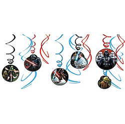 Bring the galaxy far, far away to your living room with Star Wars Swirl Decorations. These hanging Star Wars decorations are metallic plastic swirls in black, blue, and red. Double-sided cardstock cutouts of Star Wars characters such as Darth Vader, Luke Skywalker, and Yoda make for an adventurous addition to your birthday decor. Hang them by the attached plastic hooks for a Force-filled Star Wars birthday party! Star Wars Swirl Decorations include:  6 swirl decorations 3 swirl decorations with 7in cutouts 3 swirl decorations with 5in cutouts Attached plastic hooks