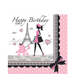 "Pink Paris Birthday Lunch Napkins will have you saying Ooh-la-la! These large napkins feature a Parisian and her poodle strolling in front of the Eiffel Tower and the message ""Happy Birthday"" printed in black script. Your table will be looking pretty in pink with these Paris-themed napkins. Pink Paris Birthday Lunch Napkins product details:  16 per package Each measures 6 1/2in x 6 1/2in folded 2-ply paper"
