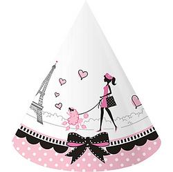 Who needs a beret when you have Pink Paris Party Hats? These cone birthday hats feature a Parisian strolling with her poodle in front of the Eiffel Tower. A black bow and pink polka dots surround the base. Pink Paris Party Hats product details:  8 per package Each measures 4 1/2in diameter at base x 6 1/4in Cardstock Attached elastic string One size fits all