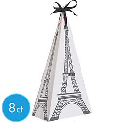 Online Only 7 3/5in Cardstock Boxes SKU: 653451  Was: $3.99 Now: $3.19 Pink Paris Eiffel Tower Favor Boxes will leave your guests saying Merci! The Eiffel Tower with a pink heart at the top is featured on each side of this pyramid box. Tie the included black satin bow at the top for an extra touch of flair. These Paris-themed boxes provide plenty of room for treats and favors. Pink Paris Eiffel Tower Favor Boxes product details:  8 per package Each measures 3in x 3in x 7 3/5in Cardstock Arrive flat