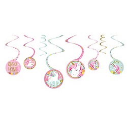 Magical Unicorn Swirl Decorations 8ct