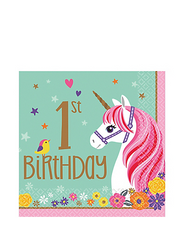 Magical Unicorn 1st Birthday Lunch Napkins 16ct