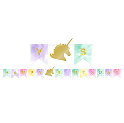 Sparkling Unicorn Happy Birthday Pennant Banner