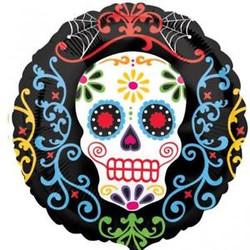"Day of the Dead Sugar Skull  18"" Foil Balloon"