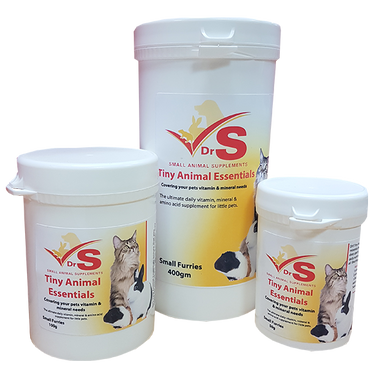 Vitamins, Rapisorb major and trace minerals, essential amino acids and herbal extracts for mice, rats, hamsters, gerbils and other small animals.