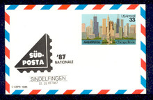 UXC23 UPSS# SA22b 33c Ameripex '86, Chicago Mint Postal Card Overprinted Sudposta '87