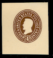 U374 4c Brown on White, die 3, Mint Cut Square
