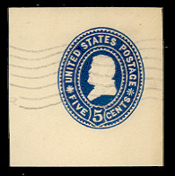 U377 5c Blue on White, Used Cut Square