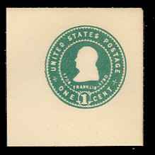 U379 1c Green on White, Mint Full Corner