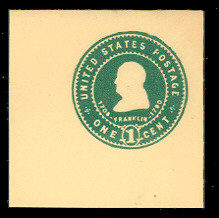 U380 1c Green on Amber, Mint Full Corner