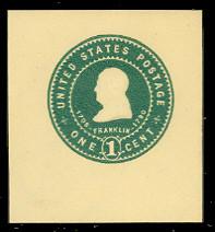 U380 1c Green on Amber, Mint Cut Square
