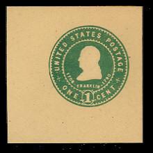 U383 1c Green on Amber, Mint Full Corner