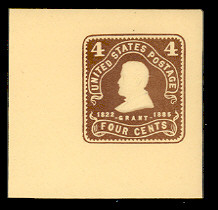 U391 4c Chocolate on Amber, Mint Full Corner