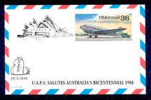 UXC24 UPSS# SA23c 36c DC-3 Mint Postal Card Overprinted Sydpex '88