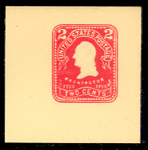 U396 2c Carmine on Amber, Mint Full Corner