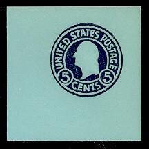 U445 5c Blue on Blue, Mint Cut Square